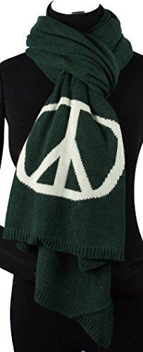 (Made Italy schöner, weicher Strickschal/Schal mit Kaschmir und Wolle mit Sternen oder Peace-Zeichen Winterschal für Damen aus der Kollektion 18/19 (Peace dunkelgrün))