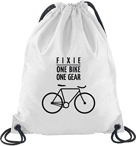 Shirtstreet24, Fixie - One Bike, Bike Track Bike Zaino Borsa Sportiva Bianca