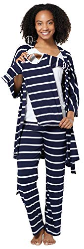 HAPPY MAMA Damen Mutterschaft Pyjama-Set Baby Mutter Passendes Set 181p (Marine Streifen, 44, 2XL)