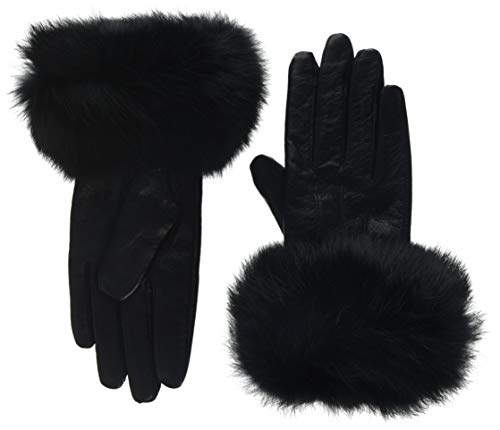 Lemontree Damen Winter Sheep Leder und Rabbit Pelz Handschuhe Mit Touchscreen Funktion ZT1, Schwarz, Gr. M (Gefüttert Mit Handschuhe Fell Leder Damen)