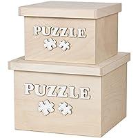 Preisvergleich für 2er Set 3D Puzzle Puzzlekiste Spielzeugkiste aus Holz mit Deckel Holzdeckel