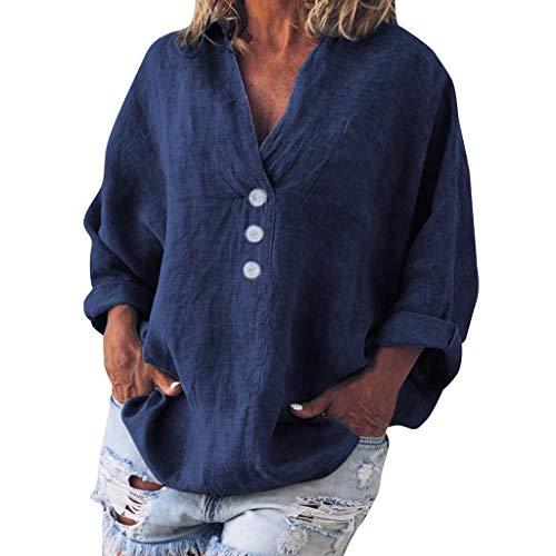 QIMANZI Bluse Damen Mode Übergröße Solide Beiläufig LeinenV-Ausschnitt T-Shirt(D Marine,L) - Langarm-wrap Cardigan