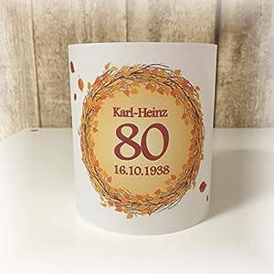 4er Set Tischlicht Tischlichter Kranz Blätter runder Geburtstag 40 50 60 70 80 90 Tischdeko personalisierbar dunkelrot orange Herbst