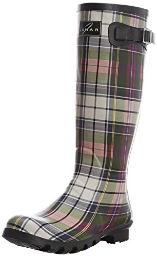 Lunar Womens Tartan Wellington Boots ELW035 Green 5 UK, 38 EU