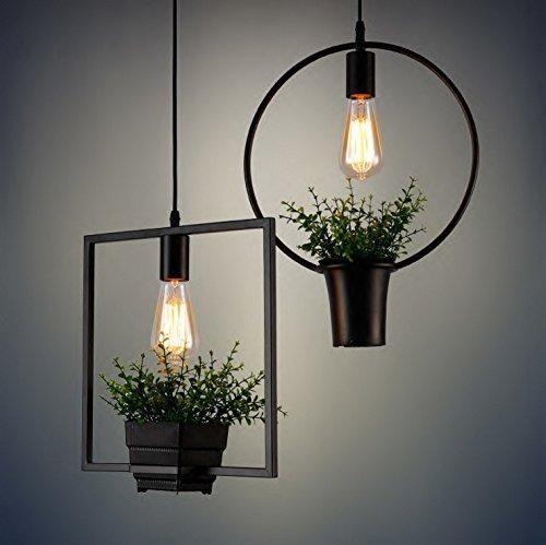 BESPD American retro Garten Pflanzentöpfe Bügeleisen minimalistischen industrielle Kronleuchter Deckenlampe Pendelleuchte Quadrat +7 W Pearl Schaum
