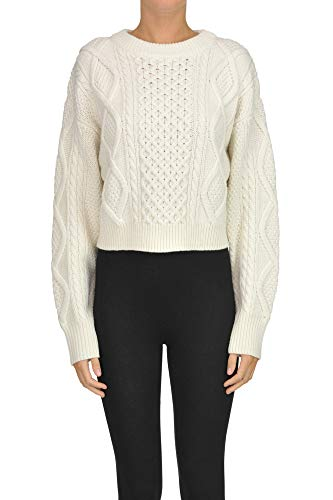 Phillip Lim 3.1 Cropped Woven Knit Pullover Woman Ivory XS int.