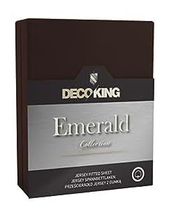 DecoKing 18811 Wasserbett Spannbettlaken 180 x 200 - 200 x 220 cm Jersey Baumwolle Spannbetttuch Emerald Collection, schoko