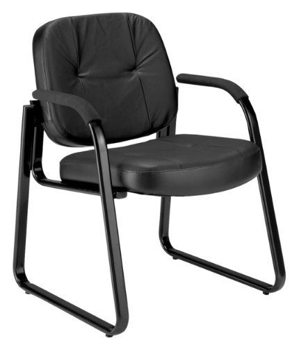 OFM 503 L GUEST LEATHER CHAIR  BLACK BY OFM