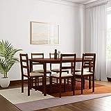 Woodness Daisy 6 Seater Basic Upholstered Dining Table Set (Matte Finish, Wenge)