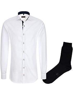 ETERNA Herrenhemd Slim Fit, weiß, Fein Oxford + 1 Paar hochwertige Socken, Bundle