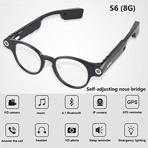 EspecificaciónNombre del producto: gafas de cámara BluetoothFunctiuons: foto, cámara, auricular Bluetooth, recordatorio de sueño, iluminación, disco UResolución de vídeo: HD 720P @ 30 fpsPixel de la imagen: 1280 * 720Distancia inalámbrica: 10m o másC...