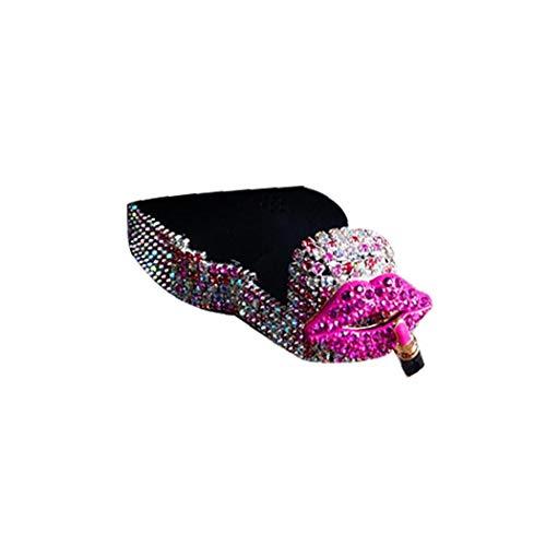 2 Stück Rücksitz Zubehör Schwere Fahrzeuge Universalhalter Taschenhaken Leuchtend rosa Kopfaufhängung Strass Autohalter Hakengeldbeutel Lebensmittel Hut (Lippe) -