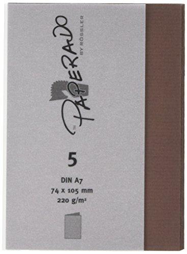 Paperado-Biglietti piegati in formato A7, colore: cioccolato (Confezione da (Cioccolato Photo)