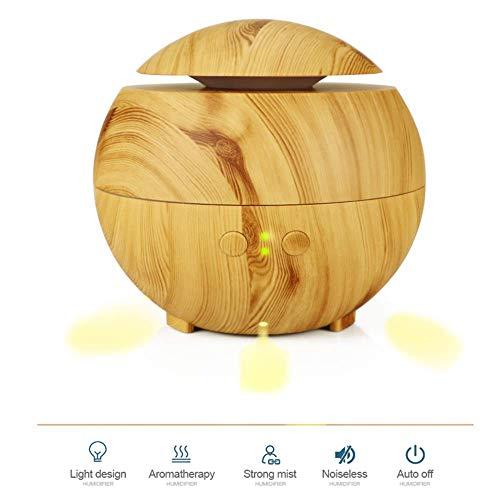 YA 600 Ml Pilzkopf Duftlampe Kreative Ätherisches Öl Lampe Stecker Aromatherapie Maschine Schlafzimmer Hause Stille Pilz Luftbefeuchter Licht Holzmaserung (öl-lampe Versorgt)