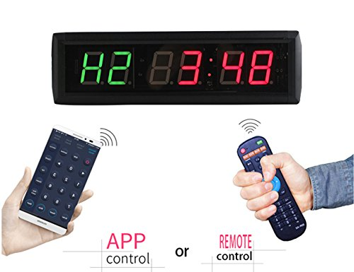 GANXIN 1 Inch 6 Digit LED Fitness Clock Custom 7 Segment LED Display for Tabata FGB Mode and Stopwatch Size:34.5 cm*10 cm*4 cm