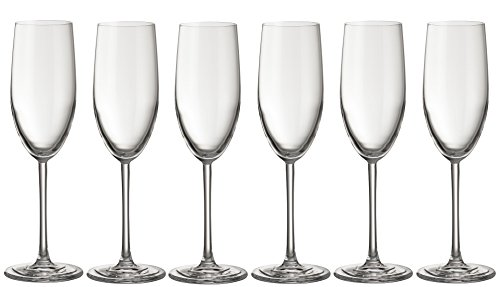 weg-ist-weg.com Jamie Oliver Waves Kristall Champagnergläser Sektgläser, 6er Set Champagner Glas, Kristallglas, Spülmaschinenfest, hochwertige Qualität