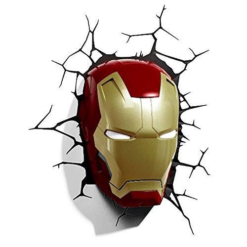 Lampe murale LED 3D masque d'Iron Man Avengers superhéros Marvel lampe avec autocollant et set de montage sous licence 18 x 13,5 x 26 cm
