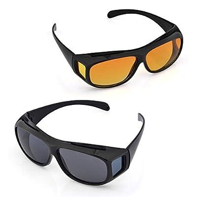 Diswa Day & Night Hd Vision Goggles Anti-Glare Polarized Uv Protected Rectangular Unisex Sunglasses(Hd-Goggales-K)