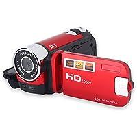 Acouto Videocamera Digital Camera Full HD Zoom 16 X 1080P 270° Rotazione Video Alta Definizione(Red)