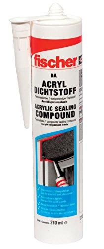 fischer DA W - Acryldichtstoff zum Abdichten von Fugen und Rissen im Innenbereich, geruchsarme Acryl-Dichtmasse, weiß, 310 ml - 1 Stück - Art.-Nr. 53110 -