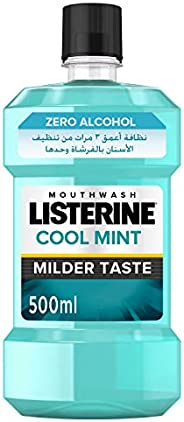 LISTERINE Breath Freshening Mouthwash, Cool Mint, Milder Taste, 500ml
