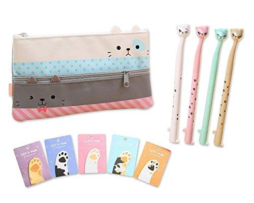 Preisvergleich Produktbild DSstyles Funny Cats Briefpapierset mit Großformat Pencil Case Stift Tasche, Cat Claw Flagge Haftnotizen Self-Stick vorne Schreibblöcke und Stifte - C