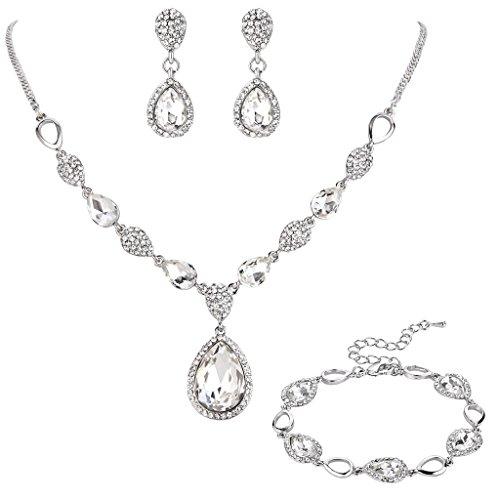 Clearine Damen Hochzeit Braut Kristall Tropfen Y-Halskette Tennis Armband Dangle Ohrringe Set Klar Silber-Ton