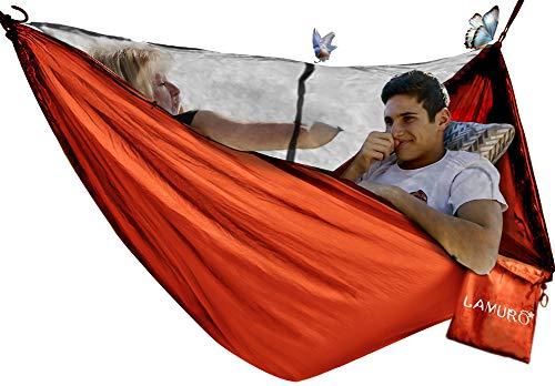 Amaca 2 persone(320 x 200 cm, 500KG) con Zanzariera   Tenda Amaca con Cerniera in Acciaio Doppio Accesso   Resistente Rete Contro le Zanzare per Campeggio e Outdoor   Inclusi Moschettoni e Custodia