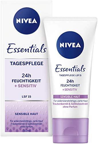 Tag Feuchtigkeitscreme Gesicht (NIVEA Essentials Tagespflege 24h Feuchtigkeit + Sensitiv im 1er Pack (1 x 50 ml), Feuchtigkeitscreme mit LSF 15, schützende Tagescreme für sensible Haut)