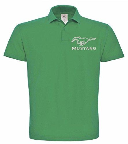 avstickerei Ford Mustang Gestickte Polo Fun Poloshirt, verschiedene Farben, super Premium-Qualität, hochwertige Stickerei (M, Grün)