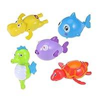 Toyvian 5pcs Pool Wind Up Bath Toys Animals Swimming Tub Bathtub Clockwork Kid Educational Water Toys (Turtle/Hippo/Shark/Kissing Fish/Seahorse)