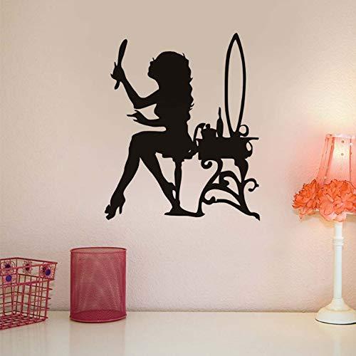 zpbzambm Beauty Girl Salon Make Up Mirror Vinyl Wall Sticker Fashion Decals Modern Art Murals Waterproof Removable Wallpaper Home Decor (Girl America Make-up Captain)