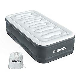 ENKEEO Materasso Gonfiabile con Pompa Elettrica Integrata, Letto Singolo Gonfiabile, Materiale di Alta qualità in 0.6mm…