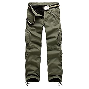 LITTHING Man Military Army Cargo Pants Plus Velvet Pants Overalls Casual Baggy Trousers