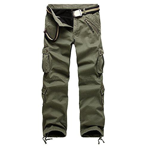 Velours-cargo Pocket-hosen (Vertvie Herren Hosen Lange Cargo Freizeithose Warm Velour Slim Fit Pants Arbeitshose Multi Taschen (EU 46/Etikettengröße 32, Armee-Grün))