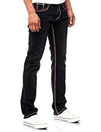 Straight Cut Herren Jeans Kontrast Doppel Rot Dicke Naht Herren-Hose 7444-6  NEU 1d8412fa7c