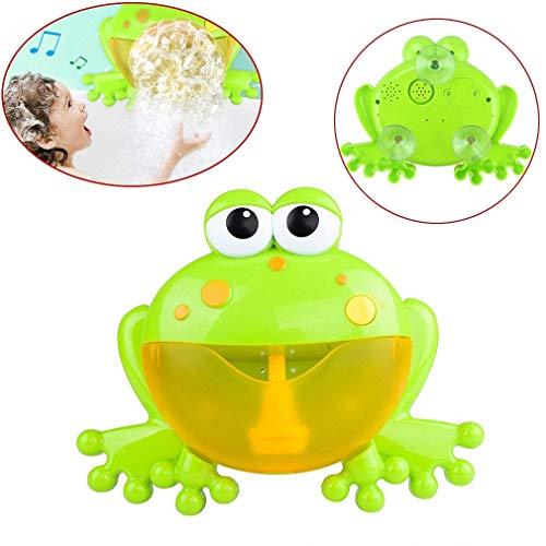 Haolv Baby Bubble Machine Wanne Big Frog Automatisches Bubble Maker Gebläse mit 12 Musiklied, Froschspucken Schaumbad