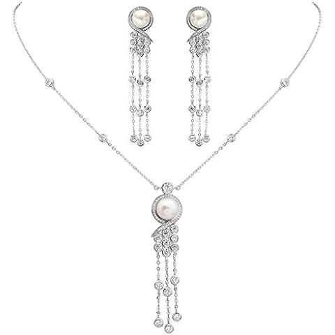 EleQueen argento 925 CZ pulsante AAA crema perla coltivata d'acqua dolce Stile vittoriano nappa lunga nuziali della collana orecchini set