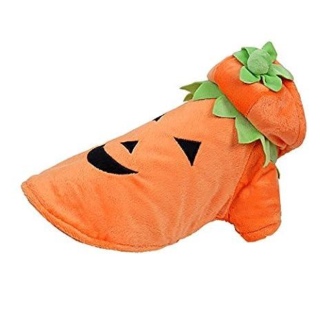 Speedy Pet costume de déguisement Costume manteau d'hiver avec capuche pour chien ou chat Vêtement Cosplay Citrouille pour chiot costume flanelle pour halloween Noël Design mignon et drôle Taille XL(Longueur de dos:35cm