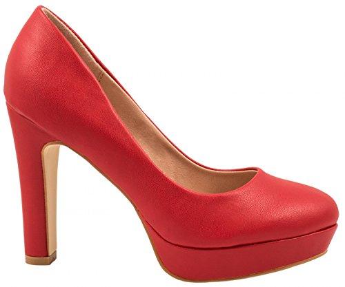 Elara Jumex Zapato de Tacón Alto para Mujer Plataforma Chunkyrayan E22321-Rot-38