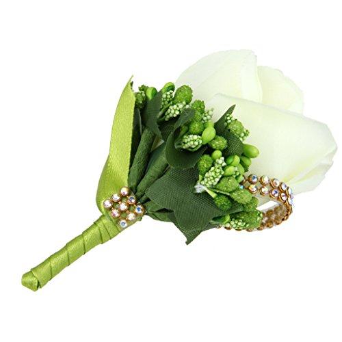 Blesiya Rose Gästeanstecker Boutonniere Anstecknadel für Hochzeit Dekoration - Weiß, 7 x 12cm