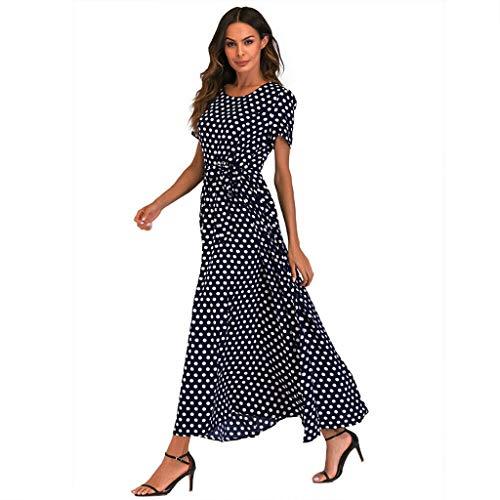 Damen Maxikleid Rundhals Strandkleider Lang Partykleid Maxi Kleider Elegant Kurzarm Kleider Lange Dress Party Club Strandkleid Mit Gürtel ()