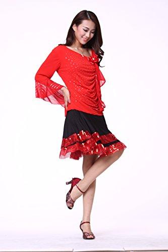 FaithYoo Damen Schößchen Kleid Rot - Rot