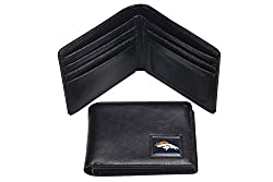 NFL Denver Broncos Men's Leather RFiD Safe Travel Wallet, 4.25 x 3.25