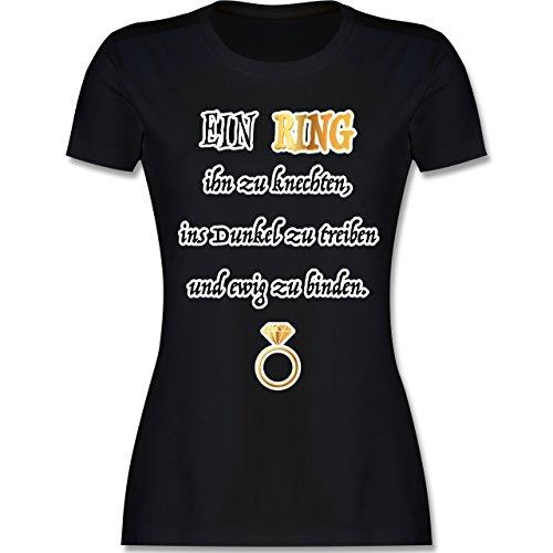JGA Junggesellinnenabschied - EIN Ring. JGA - M - Schwarz - L191 - Damen T-Shirt Rundhals