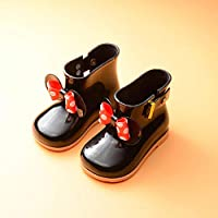 Cute Waterproof rain Boots Kids Kids Children Baby Girls PVC Butterfly-Knot Buckle Strap Dot Rubber Student Boots Rain Shoes