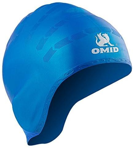 Omid Badekappe, wasserdicht, mit Ohr Taschen Design, 100% Silikon tolle Elastizität und langlebig Einheitsgröße Unisex Badekappe und für Jugendliche und Erwachsene–hält Haar sauber und Ohr Trocken beim Schwimmen, blau