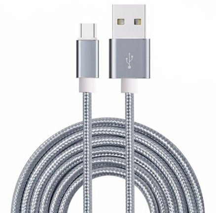 I-Sonite (Grau) Premium-Qualität [2 METER] USB-Micro-USB-Kabel Nylon Geflochtene schnelles Aufladen und Datenübertragungskabel für Huawei Mate 10 Lite