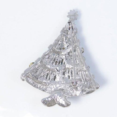 EVER FAITH® Broche Pin Autrichien Cristal Arbre de Noël Aimable Bleu&Azuré