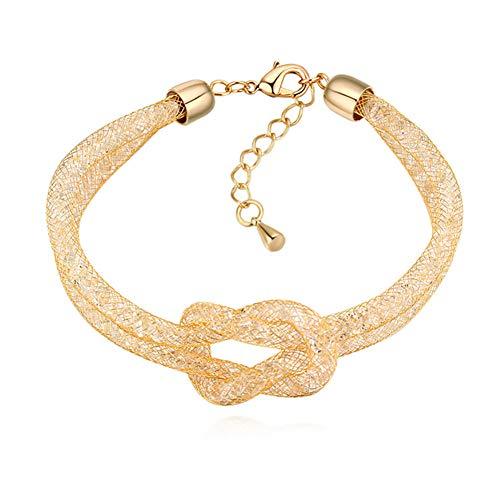 ZSML Golden Mesh Kristall-Armband, Stylish Love Knot glücklichen Women es Bangles-Adjustable, Geschenkbox,Gold